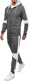 Mens Casual Tracksuit Full Zip 2 Piece Running Jogging Athletic Sports Jacket and Pants Set