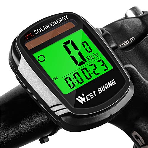 Newace Bike Speedometer Wireless Bicycle Computer Waterproof Odometer with Solar Energy Panel,Backlight for Visibility at Night, Auto On/Off and Multi-Function