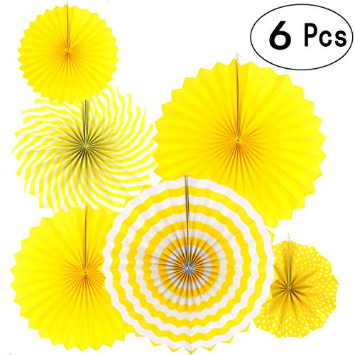 Sunshine Yellow Round Hanging Paper Fans Decorations Baby Shower Birthday Wedding Party Decorations, 6pc