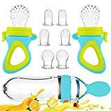 Baby Food Feeder, Fresh Food - 2 Pack Fruit Feeder Pacifier, 6 Different Sized Silicone Pacifiers | 1 Pack Baby Food Dispensing Spoon | Baby Feeding Set (Blue)