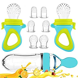 Baby Food Feeder, Fresh Food – 2 Pack Fruit Feeder Pacifier, 6 Different Sized Silicone Teething Pacifiers | 1 Pack Baby Food Dispensing Spoon | Baby Fruit Teether | Baby Feeding Set (Blue)