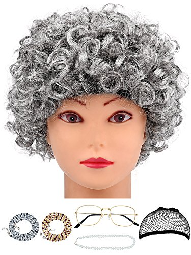 6 Pieces Old Lady Costume Granny Wig Accessories for Dress Up (Style Set 3)