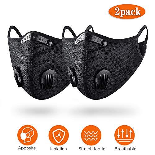 QueenNa schwarze staubdichte Fahrrad-Gesichtsmaske mit Filter, Halbgesichtsmaske für Motorradfahren, Holzarbeiten, Radfahren, Laufen, Fahrrad, 2er-Pack