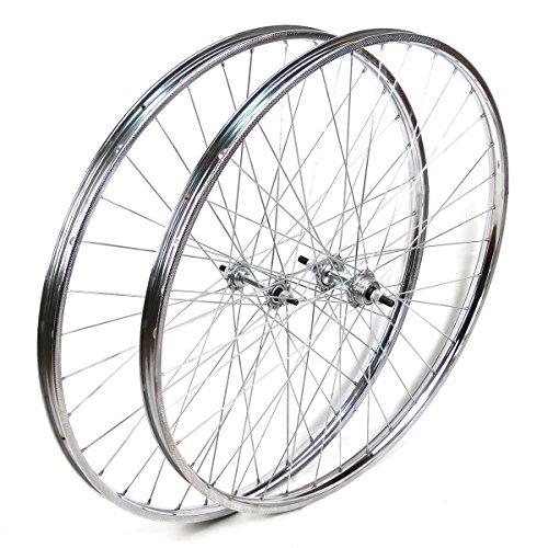 OldNewBikes Ruedas Delantera y Trasera Westrick 26 x 1 ½ de Acero Cromado para Bicicleta clásica