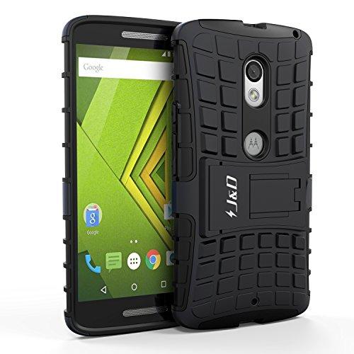 Moto X Play Funda, J&D [Soporte] [Doble Capa] [Protección Pesada] Híbrida Resistente Funda Protectora y Robusta para Motorola Moto X Play - Negro