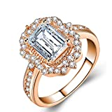 NO BRAND WhiteWedding Rings for Women Silver Ring Geometric Cubic Zirconia Women Ring Charm Jewelry