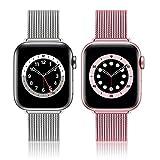 BesBand Bracelet en métal compatible avec Apple Watch 40 mm, 44 mm, 38 mm, 42 mm, bracelet de...