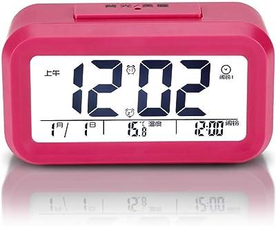 WYFDZBD Reloj Despertador Inteligente Electrónico Inteligente Reloj Mudo Luminoso Fotosensible Automático Reloj De Cabecera Reloj Rojo