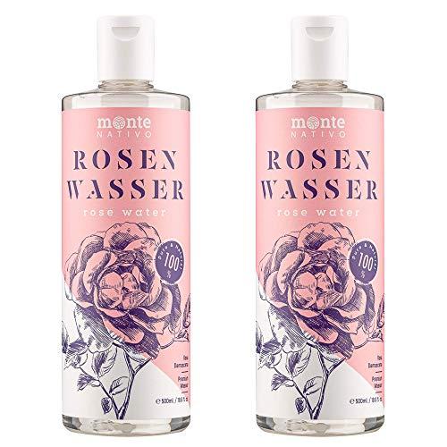100% Pure Eau de Rose MonteNativo - 2x500ml - 100% Bio et Naturel, Lotion Tonifiante pour le visage, Hydrolat naturel de rose, Triple purification, eau florale de rose