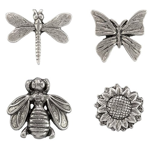 Spring Time Metal Push Pins, Sunflower, Bumblebee, Dragonfly, Butterfly, Silver Finish, 15 Piece Set