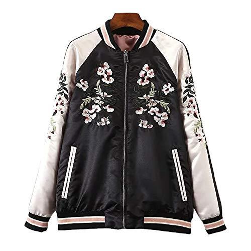 Flygo Women's Reversible Floral Embroidery Satin Baseball Bomber Jacket (Large, Black&Pink)