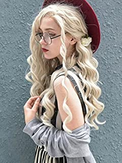 Imstyle Blonde Wigs For Women Ash Blonde Lace Front Wigs Synthetic Hair Long Curly Wave Costume Wigs Heat Resistant Hair Khaleesi Wig 24 Inches