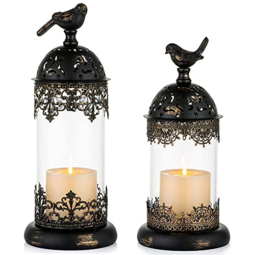 TYXL Set of 2 Decorative Bird Cage Candle Holder Black Vintage Candle Lanterns for Wedding Candle Centerpieces Reception Home Fireplace Holiday Decoration (Black1)