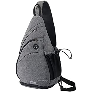 Sling Backpack, WATERFLY Chest Bag Shoulder Crossbody Bag Triangle Backpack for Men Women Outdoor Travelling Cycling Hiking Running