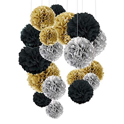 O-Kinee 24 pompones de papel de seda de color negro y dorado, para decoración de fiestas de cumpleaños, bodas, baby showers, fiestas, decoración principal y decoración de fiestas
