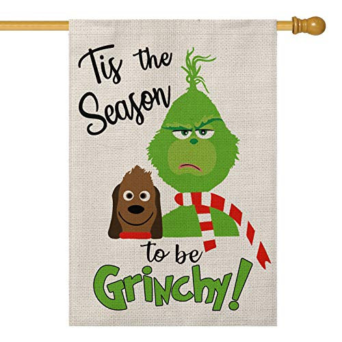 AVOIN Tis The Season to Be Grinch House Flag Vertical Double Sized, Christmas Winter Holiday Party Yard Outdoor Decoration 28 x 40 Inch