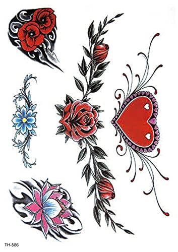 Patrn Vintage En Forma De Corazn Rosa Largo 15X21cm-5Pcs Tatuajes Temporales Art Sticker Cover Up Set Lote nico Negro Para Adultos Mujeres Nias Impermeables Extrables No Txicos