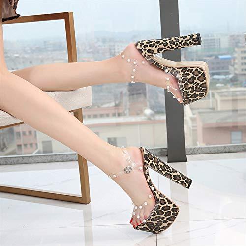 LBYB High Heels, Sandalen, 17 cm, grobe Absatz, modisch, Fischmaul, Strass, ausgeschnittene Sandalen, Größe S, M, für Abschlussball, Party, mehr, 36