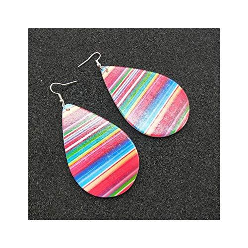 Pendientes de lágrimas de Mujer Lámpara de Madera Lámpara de Madera Cuelga Pendientes de Hoja Redonda Cuelga Rainbow Cork Impresión Pendientes Pendientes (1 par)