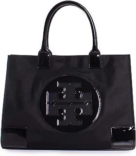 Tory Burch Ella Nylon Patent Leather Tote Handbag in Black