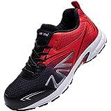 Zapatillas Hombres Mujers Zapatos de Deporte Gimnasio Sneakers Deportivas Padel Transpirables Casual(Azul Rojo, 44)