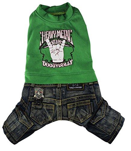 Doggy Dolly C146 hondencombi jeans heavy, groen, XXS Brust 26-28cm, Rücken 13-15cm