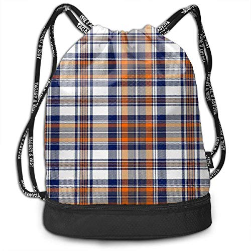 PmseK Turnbeutel Sportbeutel Kordelzug Rucksack, Blue Orange White Plaid Multifunctional Bundle Backpack Shoulder Bag for Men and Women
