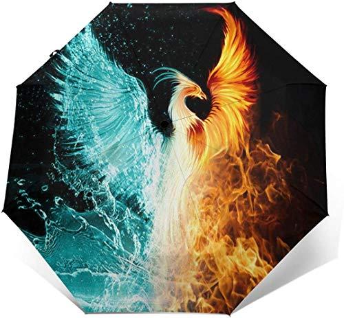 Ice And Fire Phoenix - Parasol automático de tres pliegues para sombrilla