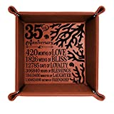 KATE POSH 35 Years of Marriage Engraved Leather Catchall Valet Tray, Our 35th Wedding Anniversary, 35 Years as Husband & Wife, Gifts for Her, for Him, for Couples, Coral Anniversary Design (Rawhide)