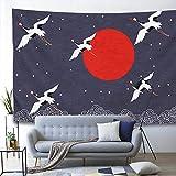 Tapiz de grúa Arte Retro Puesta de Sol y grúa Tapiz de Pared Tapiz de Estilo Chino japonés Telón de Fondo de televisión Mantas de Pared