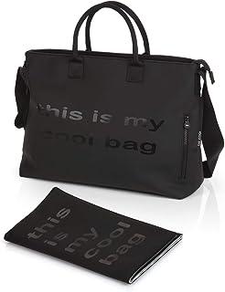 Be Cool Mamma Bag Bolso Cambiador con Anclaje Universal, con Estuche Isotérmico para Biberones, Varios Bolsillos, Color Black