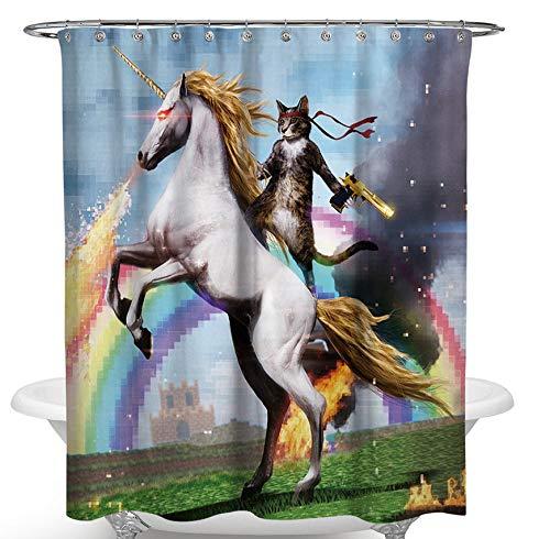 SCVBLJS Katze Reitet Auf Einem Pferd Duschvorhang wasserdichte Badezimmerbadewanne Anti-Mehltau Polyestergewebe Badezimmer Duschvorhang Mit Haken 180X180Cm
