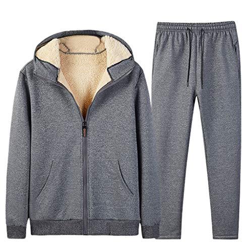 Dasongff heren sweatjack met ritssluiting fleece binnenzijde capuchon winter warme hoodie pullover met capuchon verdikte jack winterjas Large grijs