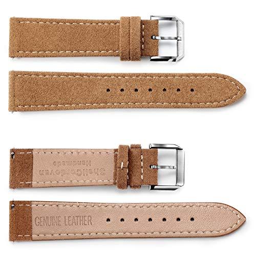 FEICE Uhrenarmband Dornschließe Leder Uhrenarmband Uhr Ersatzband mit Schnellverschluss Für Herren D