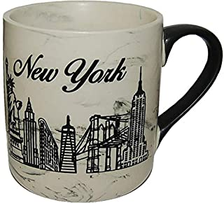 New York City Upscale Marble 15 Ounce Coffee Mug- Featuring an Engraved NYC Skyline