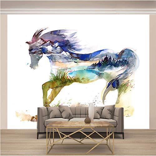 Msrahves Papel Pintado Fotográfico Pintado animal caballo abstracto Fotomural Vinilo de Pared para Paredes Decoración Hogar Pared Fotomurales ParedFotomural Decorativo Vinilo Decorativo