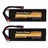 Youme Power 2packs RC Batería, 2s Lipo Battery 7.4V 6200mah 50C Estuche rígido con Deans T Enchufe para Buggy / Coche / Camión, Barco, Heli y Drone a Escala 1/10 y 1/8