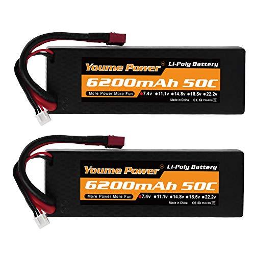 Youme Power 2 Packs Batterie RC, 2s Lipo Batterie 7.4V 6200mah 50C Etui Rigide avec Deans T Plug pour Buggy 1/10 et 1/8 / Voiture / Camion, Bateau, hélicoptère et Drone
