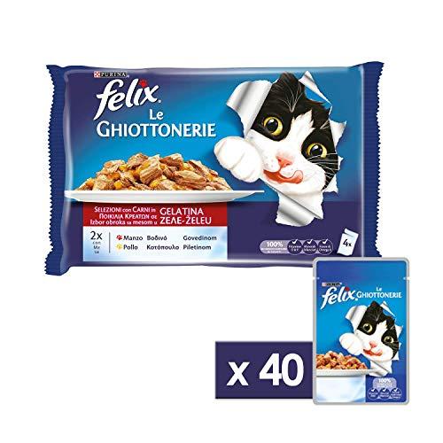 Purina Felix le Ghiottonerie Umido Gatto con Manzo e con Pollo, 40 Buste da 100 g Ciascuna, 10 Confezioni da 4 x 100 g