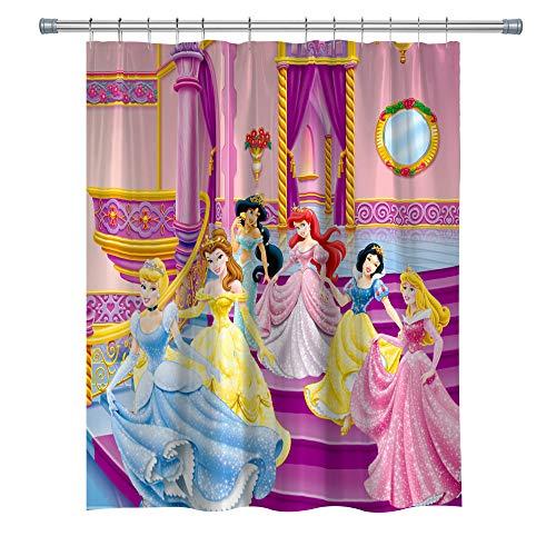 GOODCARE Princess Shower Curtain, Snow White Cinderella Aurora Ariel Belle Jasmine 12 Free Hooks, Polyester Fabric, 71 x 71 inches