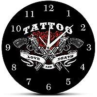 Cwanmh Reloj de Pared Tattoo Logo Print Reloj de Pared Love and Dead Roses con Pistola de Tatuaje Reloj de Pared Tattoo Studio Gothic Art Deco Regalo para tatuadores 30 x 30 cm