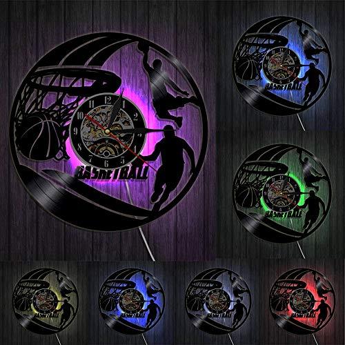 Decoración del hogar Baloncesto Reloj de Pared Jugadores de Baloncesto Silueta Arte de la Pared Disco de Vinilo Reloj de Pared Slam Dunk Baloncesto Decoración del hogar Regalo Deportivo