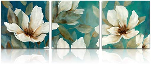 Innopics Elegant White Flowers Print on Canvas Vintage Still Life Picture Retro Floral Painting Abstract Wall Art Decor Stretched and Framed for Home Office Living Room Decoration 12