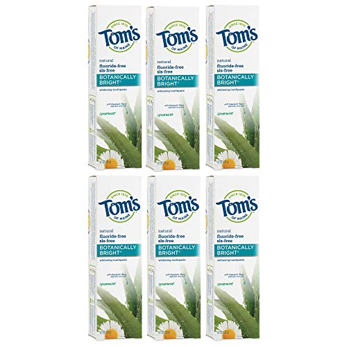 Tom's of Maine Fluoride-Free Botanically Bright Toothpaste, Natural Toothpaste, Whitening Toothpaste, Spearmint, 4.7 Ounce, 6-Pack