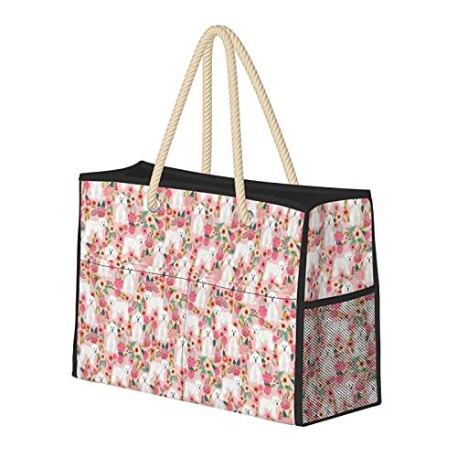 Bolsa de playa grande y bolsa de viaje para mujer – Bolsa de piscina con asas, bolsa de semana y bolsa de noche – Bichon Florals lindo perro de Bichon Frise