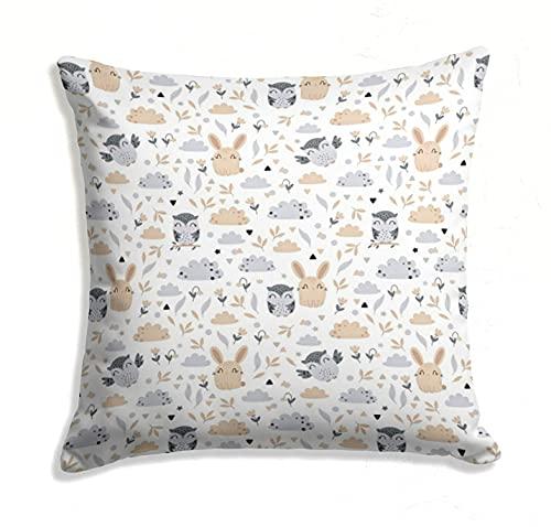 Funda cojin - Funda Almohada Bebe de algodón Fundas de Cojines Decorativos para niños cojin Infantil (Motivo de búho, 50 x 50 cm)