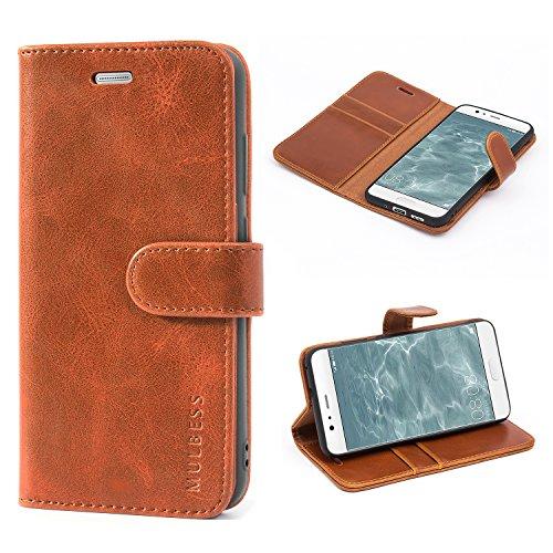 Mulbess Handyhülle für Huawei P10 Lite Hülle Leder, Huawei P10 Lite Handy Hülle, Vintage Flip Handytasche Schutzhülle für Huawei P10 Lite Hülle, Braun