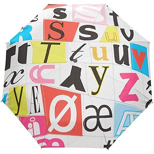Patchwork Alphabet Letter Plaid Tartan Auto Öffnen Schließen Regenschirme Anti UV Folding Compact Automatic Umbrella