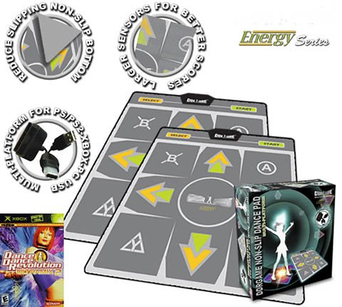 2 x DDR Multi-Platform Super Sensors Energy Nonslip Dance Pad (PS, PS2, XBox, PC, Mac) with DDR Game...