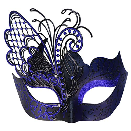 Mysterious Venetian Butterfly Lady Masquerade Halloween Party Mask (Black&Blue)